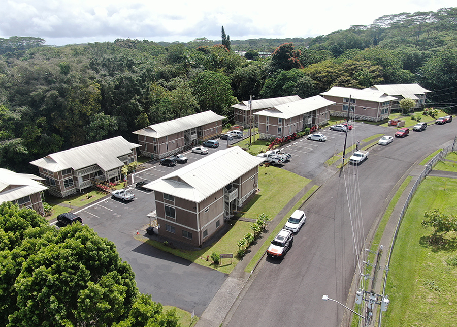 Aerial shot of the entire apartment complex before renovations