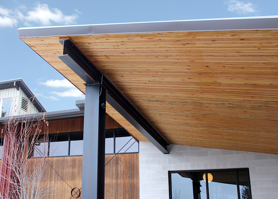 The nail laminated timber overhang at the Ruffwear entryway