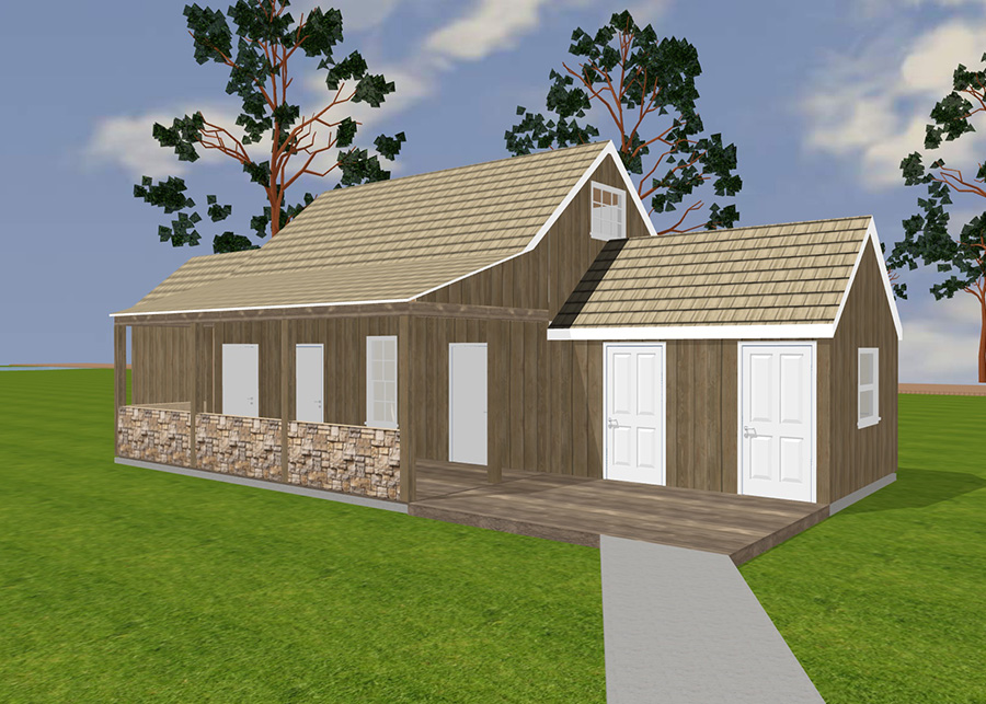 A digital rendering of the thatched side house, fully restored to its original form