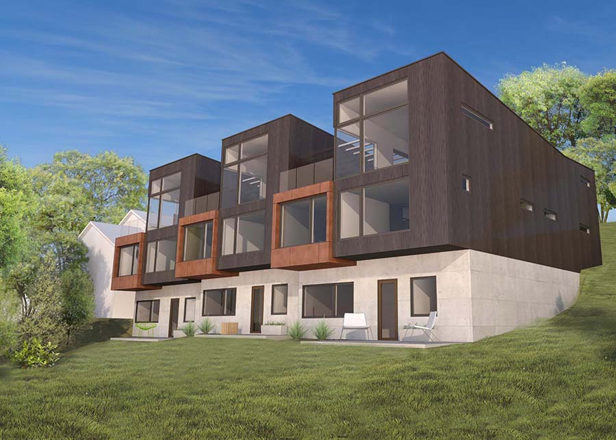 A rendering of the exterior of the townhomes features Bauhaus-style design and stands out against the green surrounding