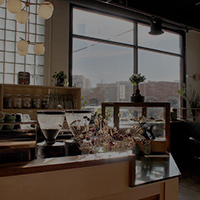 interior view of Lone Pine Coffee Roasters shop