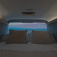 night view from the interior of the custom-built Sprinter
