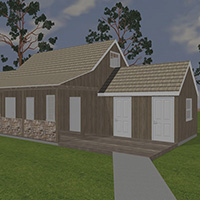 rendering of the exterior of the Tetherow Homestead