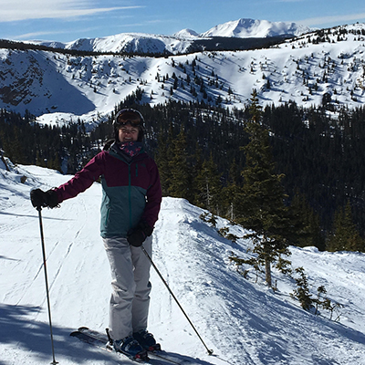 Design Professional Ellen Hassett pictured on the slopes in Central Oregon